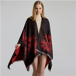 Ladies double-sided loose beard jacquard split thickened warm split shawl cloak