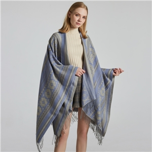 Ladies jacquard shawl street fashion split thick poncho to keep warm