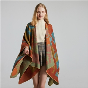 Creative fashion imitation cashmere jacquard split thick large cloak air conditioning warm shawl
