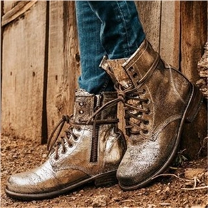 Retro style side zipper thick heel lace-up women's short boots