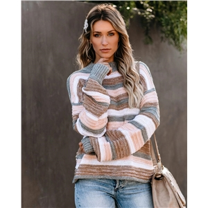 Pullover large sleeve knitted stitching personality sweater