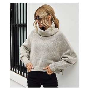 Solid color loose bat sleeve women's pullover turtleneck sweater