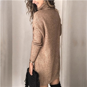 Fashion solid color pullover loose turtleneck sweater dress