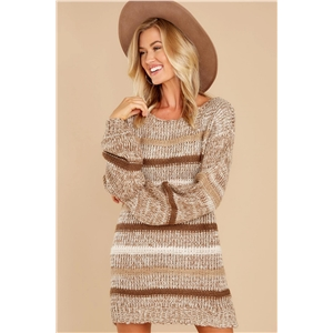 Dress pullover loose fashion striped round neck sweater