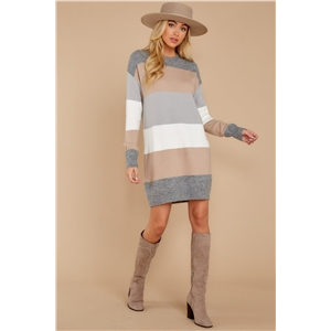 Fashion striped pullover loose round neck sweater dress