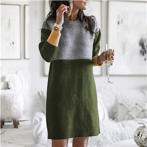 Fashion OL commuter stripe stitching loose large size round neck pullover knitted sweater