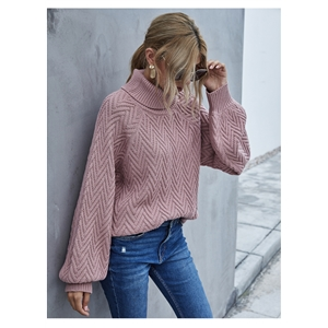 Lantern sleeve women's knitted loose pullover turtleneck sweater