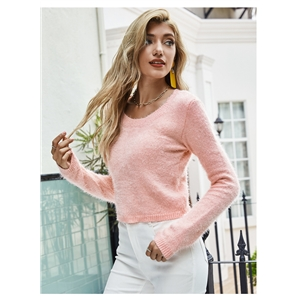 Pure color slim slim pullover short long sleeve sweater