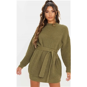 Round neck loose long hedging belt waist knit sweater dress