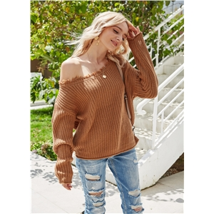 Sexy strapless knit loose pullover solid color sweater