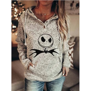 Long sleeve printed Halloween casual drawstring hooded sweater