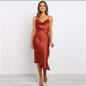 Sexy strapless sleeveless solid color party dress midi dress