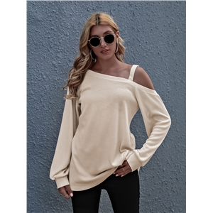 Apricot One-Neck Loose Pullover Long Sleeve Knit Sweater