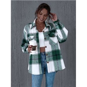 Green double-pocket lapel thick plaid warm jacket