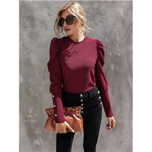 Elegant temperament pullover long sleeve round neck slim-fit women's T-shirt
