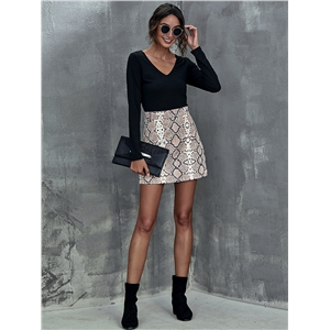 Fashion snake print sexy short skirt with hips