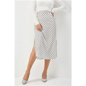 Slim-fit split satin bread hip high waist mid-length zipper polka-dot skirt