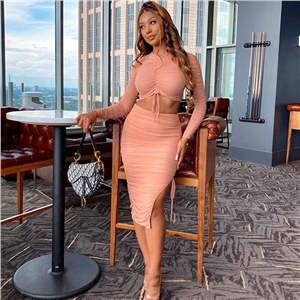 2020 autumn new mesh drawstring pleated two-piece skirt