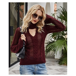 2020 hot style British style slim sexy hollow high neck flared sleeve sweater
