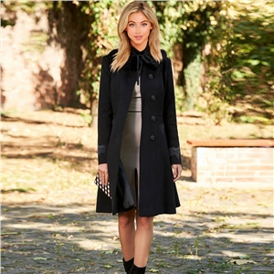 2020 women's new woolen lapel lace mid-length coat