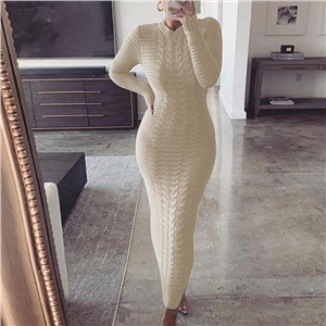 Dress sweater 2020 autumn and winter new solid color knitted long-sleeved dress long skirt
