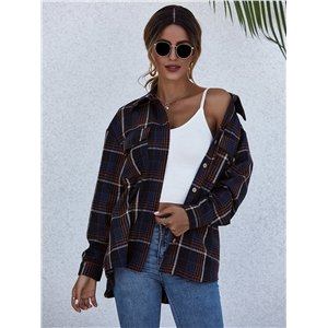 2020 Fall/Winter Plaid Harajuku Cardigan Single-breasted Long Sleeve Cotton Lapel Shirt