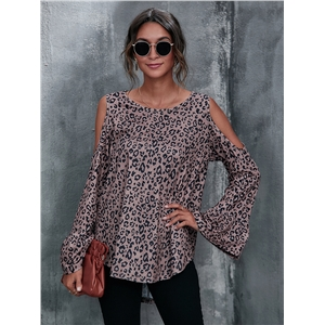 Leopard print off-shoulder top flared long sleeve T-shirt