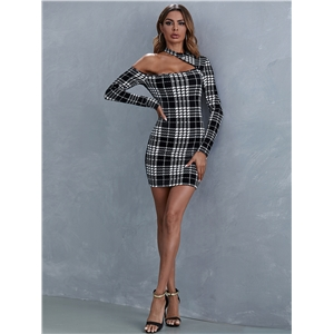 Temperament Commuter Stitching Plaid Plaid Hetted A-line Skirt