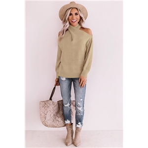 2020 autumn and winter hanging neck solid color personalized fashion V-neck knitted sweater