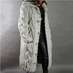 2020 winter plus size solid color cardigan sweater coat
