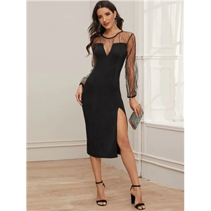 2020 fall new French retro split A-line skirt sexy mesh small black dress