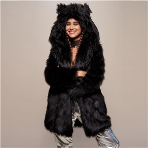 2020 winter black mid-length faux fur hooded overcoming coat