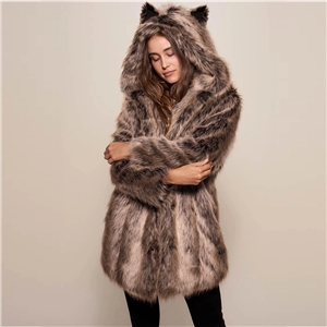 2020 winter brown mid-length faux fur hooded overcoming coat