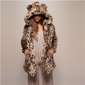 2020 winter leopard print mid-length faux fur hooded overcoming coat