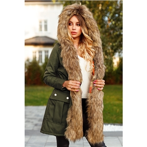 2020 winter thick lamb hair liner padded jacket with hood mid-length padded coat women's jacket