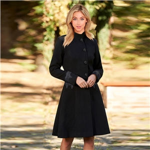 2020 autumn and winter woolen lapel lace mid-length coat women's coat