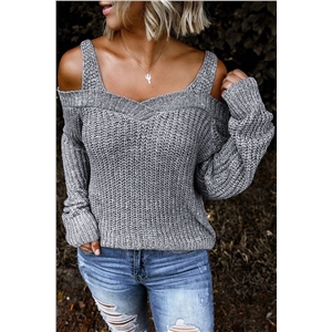 2020 autumn new sexy sling strapless sweater solid color casual long sleeve sweater