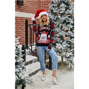 2020 Christmas pullover sweater Santa Claus embroidered crew neck sweater