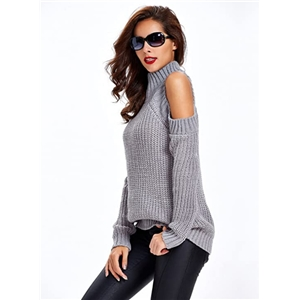 2020 autumn and winter new solid color sexy off-shoulder pullover stand collar loose knit sweater