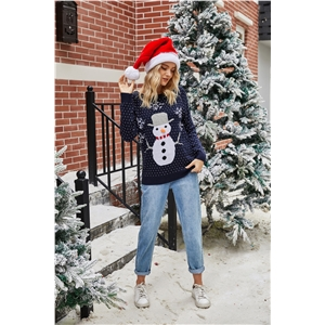 2020 Explosive Little Snowman Snowflake Crew Neck Pullover Christmas Sweater