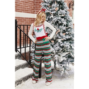 2020 autumn and winter Christmas outfit loose Christmas snowflake knitted overalls