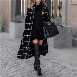 Black lengthened plaid woolen women's coat trench coat belt