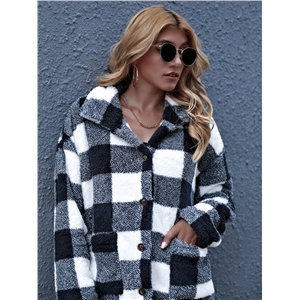 Woolen cardigan black contrast plaid long shawl coat