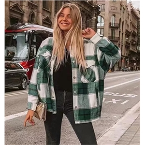 2020 ins bloggers with the same shirt-style fashion plaid woolen jacket