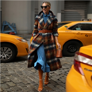 New autumn and winter women's clothing Plaid coat woolen long coat