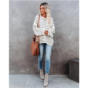 2020 winter new loose stitching pullover striped plus size sweater