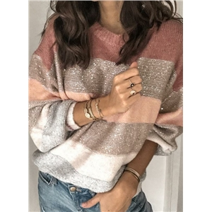 2020 winter new stitching round neck fashion personality striped loose sweater