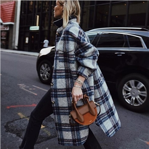 Fashion lapel long sleeve woolen plaid coat jacket