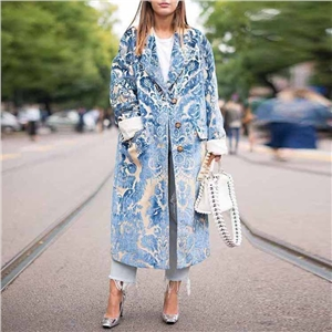 Blue long fold-over collar button print long sleeve coat
