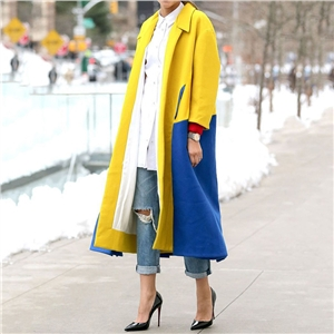 Yellow and blue color-blocking plain weave windbreaker with lapel